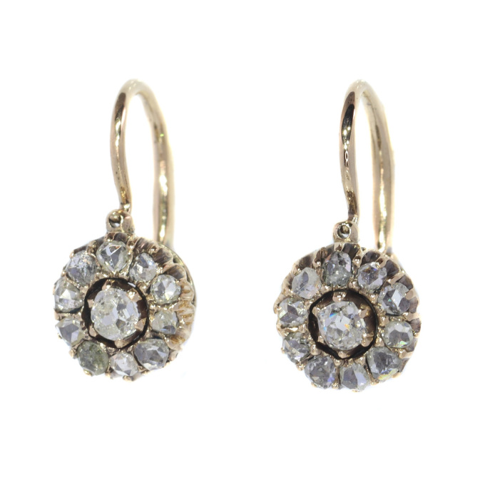 Antique diamond earrings mid 19th Century by Unknown Artist