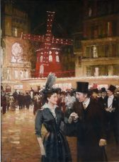 Paris, Elegant couple near the Moulin Rouge by Victor Guerrier