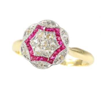 Vintage Art Deco diamond and ruby engagement ring by Unknown Artist