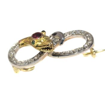 Victorian gold serpent pin set with diamonds curled snake brooch by Unknown Artist