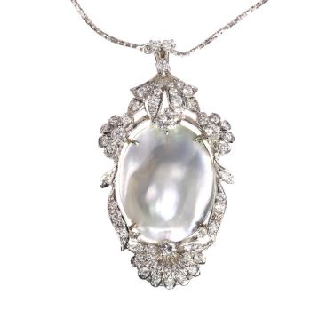 Vintage Fifties diamond and pearl pendant necklace by Unknown Artist