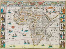decorative map of Africa of the seventeenth century by Blaeu, Joan