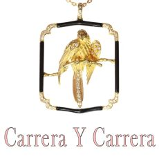 Signed Carrera Y Carrera Vintage gold diamond onyx parrot pendant necklace by Unknown Artist