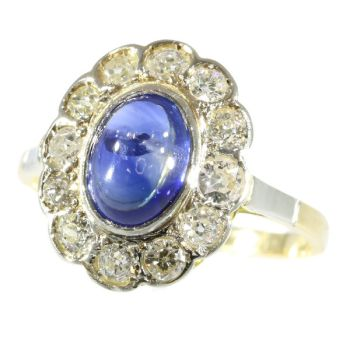 Vintage little Princess Di ring with diamonds and cabochon natural sapphire by Unknown Artist