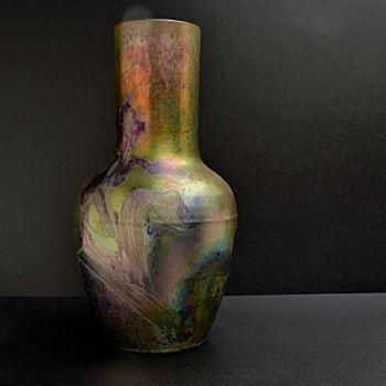 Art nouveau vase Iris pattern  by Clement Massier