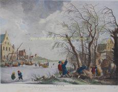 Winter landscape  by  Jean Moyreau after Philips Wouwerman