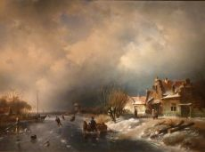 Winterlandscape with iceskating figures, right side village with willow-trees by Charles Leickert