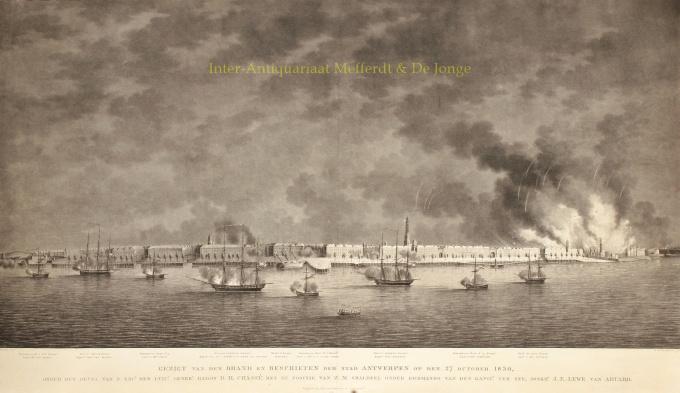 Gezigt van den Brand en Beschieten der stad Antwerpen op den 27 october 1830 by Hoogkamer, W.H.