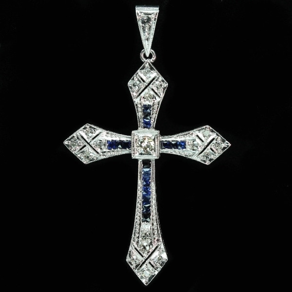 Art Deco Belle Epoque cross pendant platinum diamonds and sapphires by Unknown Artist