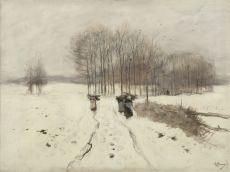 A snowy landscape near Laren by Anton Mauve