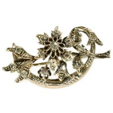 Red gold Victorian rose cut diamond branch brooch by Unknown Artist