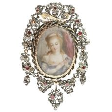 Romantic brooch pendant with painted miniature on ivory and paste stones by Unknown