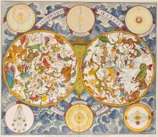 Astronomical map with constellations and astronomical models