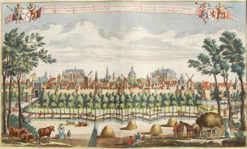 Gezicht op Leiden  by  Leon Schenk naar Abraham Rademaker