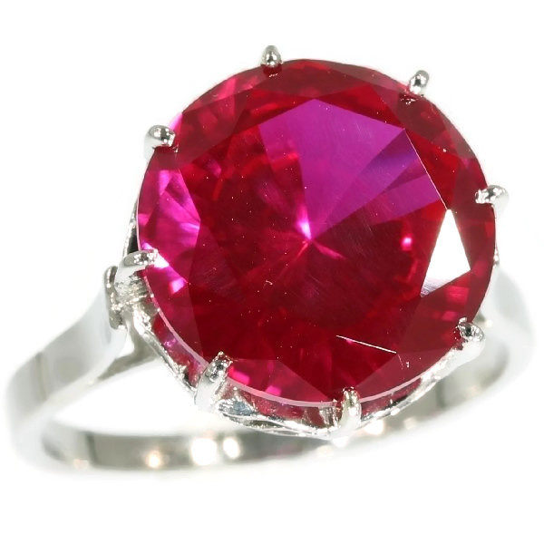 French estate platinum engagement ring with big red stone by Unknown Artist