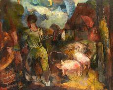 Farmyard with 3 piglets