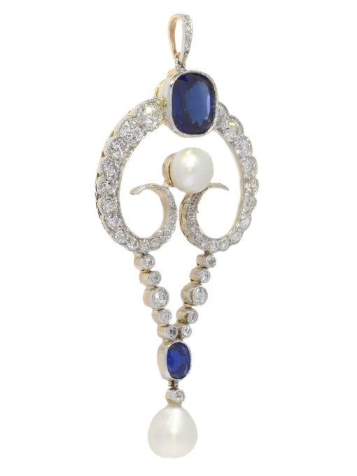 Belle Epoque diamond pendant with large natural pearls and cornflower blue color natural sapphires (certified) by Unknown Artist