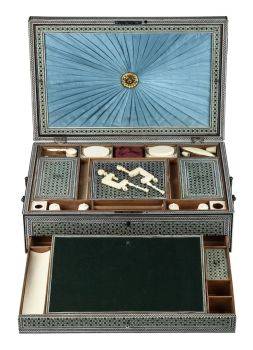 A RARE COMPLETE INDIAN SADELI INLAID WORK AND WRITING BOX by Unknown Artist