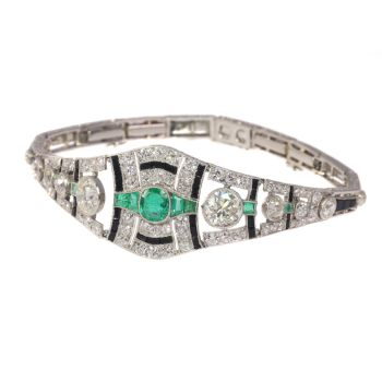 Original vintage Art Deco diamond onyx and emerald bracelet by Unknown Artist
