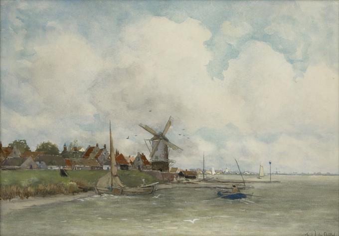 A Dutch river scene by Fredericus Jacobus van Rossum du Chattel