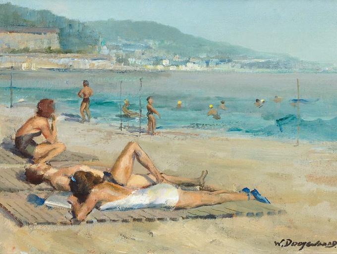 Het strand van Nice by Willem Dooijewaard