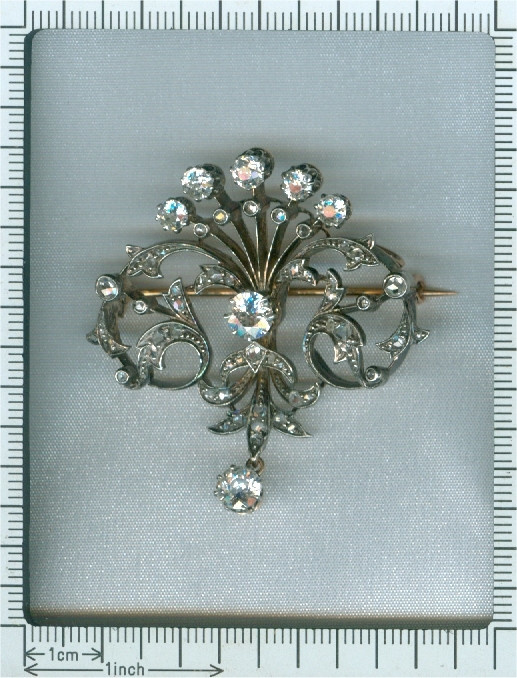 Antique diamond set pendant and brooch in peacock tail model by Unknown