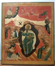 Large antique Russian icon: The Life of Prophet Elijah by Old Believers Workshop