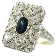 Diamond and sapphire Art Deco engagement ring by Unknown Artist