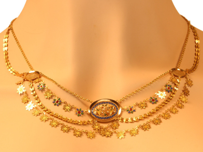 French antique gold necklace with enamel so-called collier d'esclave by Unknown
