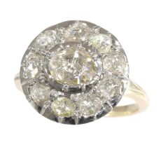 Antique Victorian large rose cut diamond cluster ring by Unknown