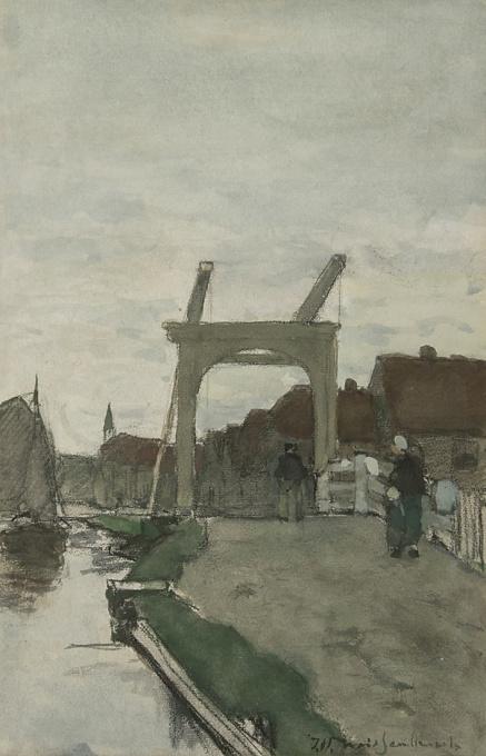 De Teuntjesbrug bij Nieuwkoop by Hendrik Johannes (Jan Hendrik) Weissenbruch