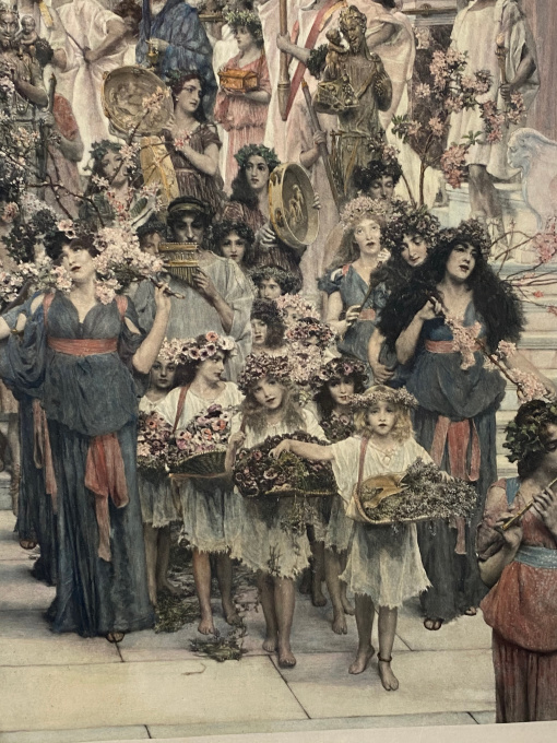 """Spring"" (original photogravure, hand coloured) by Lawrence Alma-Tadema"