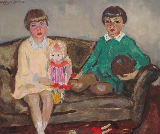 Portrait of the kids Evert and Emilie (Mimi) Doedes Breuning ten Cate by Jan Sluijters