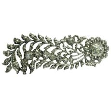 Dutch antique style feather brooch foil set rose cut diamonds by Unknown Artist