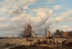 A V.O.C. merchant ship in the roads of Dordrecht  by Johannes Hermanus Koekkoek