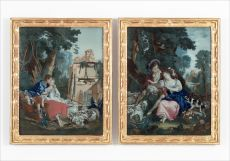 Two Chinese Reverse Mirror Paintings, after paintings by François Boucher