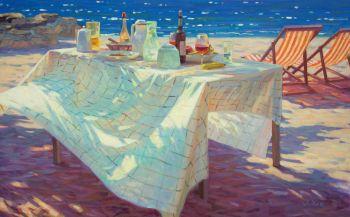 Lunchen aan Zee - Lunch at the Sea - Oil on Linnen - In Stock by Juane Xue