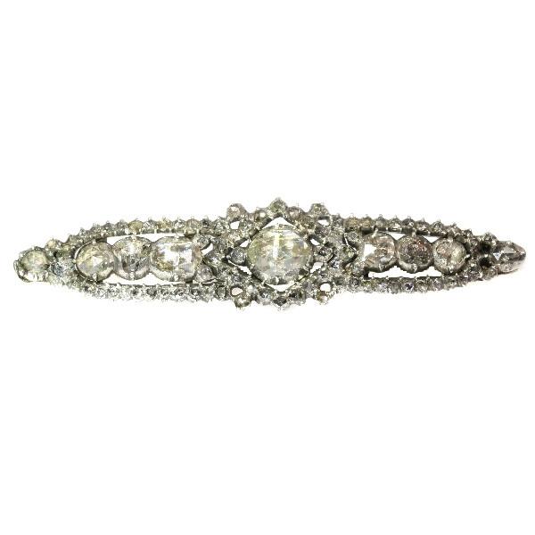 Antique rose cut diamond bar brooch by Unknown Artist
