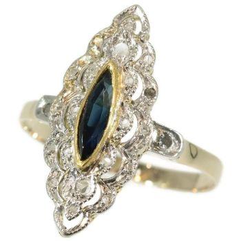 Belle Epoque Art Deco diamond sapphire engagement ring by Unknown Artist