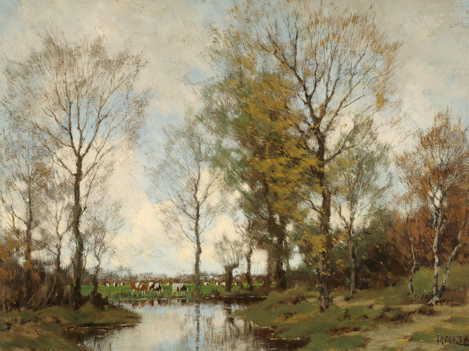 Summer forest scene with cows by Arnold Marc Gorter