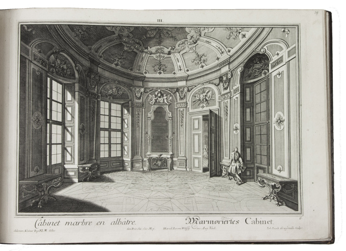 102 splendid views of Prince Eugene of Savoy's Belvedere palace, including baroque interiors and the animals in his menagerie by Salomon Kleiner