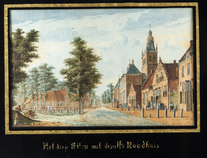 Set of 4 framed views of villages near Breda ca. 1778, in coloured gouaches by Dirk (Theodorus) Verrijk