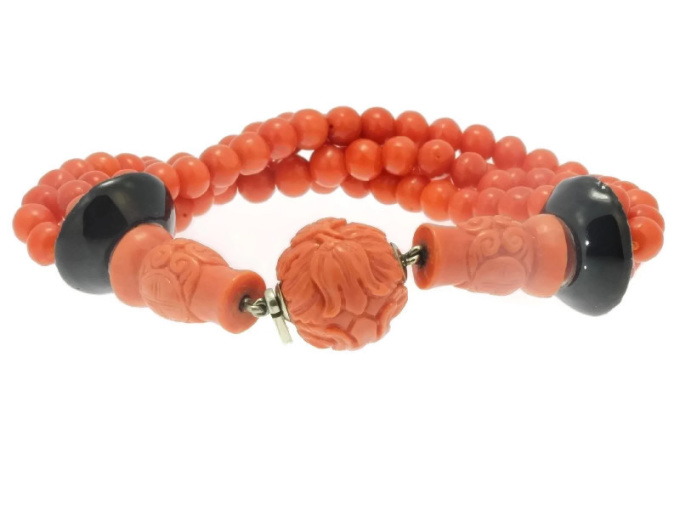 Art Deco enameled coral beaded bracelet, 4 strands by Unknown