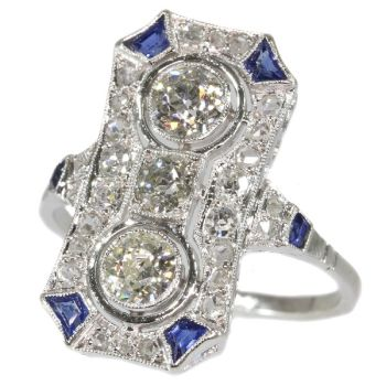 Typical Art Deco platinum diamond engagement ring by Unknown Artist