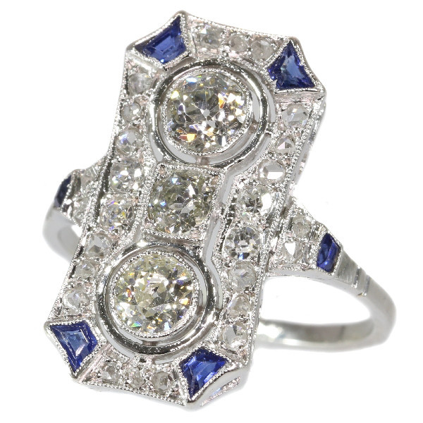 Typical Art Deco platinum diamond engagement ring by Unknown
