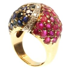 Impressive French Fifties cocktail ring brilliants rubies emeralds sapphires by Unknown Artist