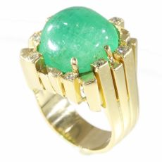 Vintage Seventies Modernistic Artist Design ring with large emerald and diamonds by Unknown