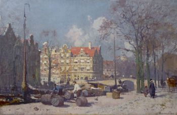 A sunny canal in Amsterdam by Cornelis Vreedenburgh