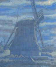 Windmill in moonlight (in Diemen, near Amsterdam) by Willy Schoonhoven van Beurden