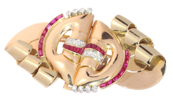 Strong design three tone gold Retro double clip with diamonds and rubies by Unknown